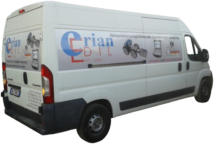 Our van for video-inspections and reparation by packer technology